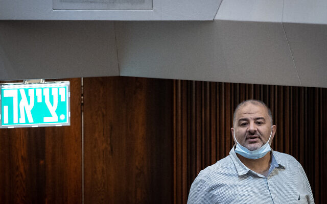 Ra'am chief Mansour Abbas at the Knesset in Jerusalem on July 6, 2021. (Yonatan Sindel/Flash90)