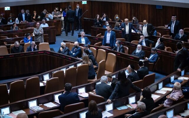 Illustrative: A plenum session in the Knesset, on July 6, 2021. (Yonatan Sindel/Flash90)