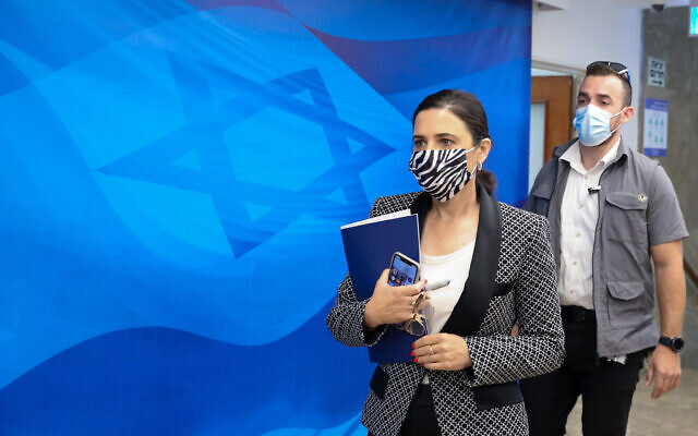 Interior Minister Ayelet Shaked arrives for a cabinet meeting at the Prime Minister's Office in Jerusalem on July 11, 2021.  (Marc Israel Sellem/POO)