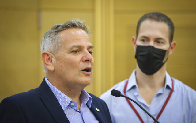 Health Minister Nitzan Horowitz speaks at a press conference at the Knesset, July 11, 2021. (Yonatan Sindel/Flash90)
