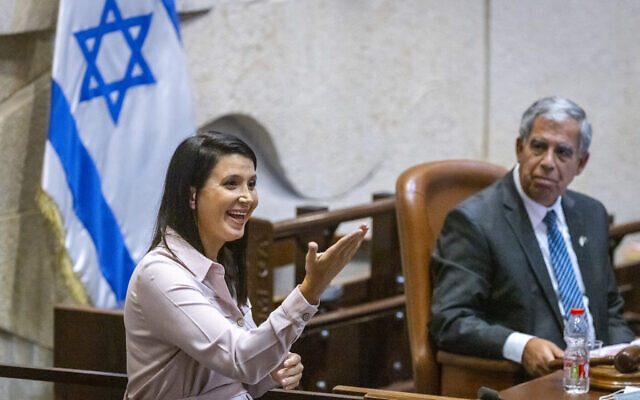 Shirley Pinto, the first deaf Knesset member, speaks during a plenum session on July 12, 2021. (Olivier Fitoussi/Flash90)