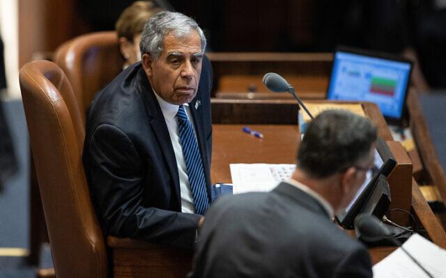 Speaker Mickey Levy in the Knesset on July 13, 2021. (Yonatan Sindel/Flash90)