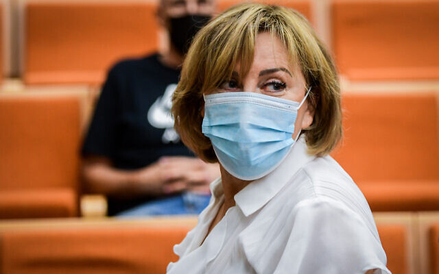Former Yisrael Beytenu MK Faina Kirshenbaum arrives for her sentencing at the Tel Aviv District Court on July 14, 2021, charged with corruption crimes including bribery, fraud and money laundering. (Avshalom Sassoni/Flash90)