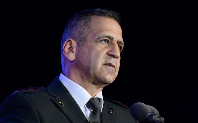 IDF Chief of Staff Aviv Kochavi attends a ceremony in central Israel, on July 14, 2021. (Tomer Neuberg/Flash90)