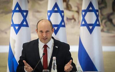 Prime Minister Naftali Bennett at a cabinet meeting at the Knesset in Jerusalem, July 19, 2021. (Marc Israel Sellem/POOL)
