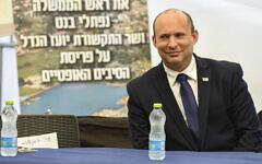 Prime Minister Naftali Bennett in Maalot on July 20, 2021. (Rami Shlush/POOL)