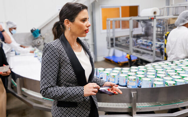 Interior Minister Ayelet Shaked tours the Ben and Jerry's factory in Israel, on July 21, 2021. (Flash90)