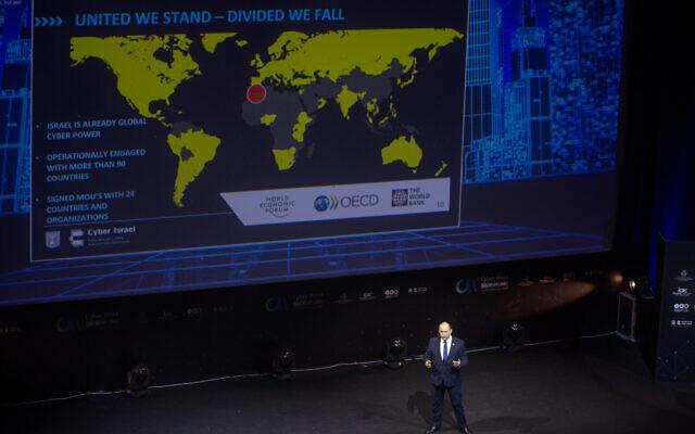 Prime Minister Naftali Bennett speaks at the annual Cyber Week, at the Tel Aviv University, on July 21, 2021. (Miriam Alster/FLASH90)
