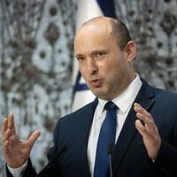 Prime Minister Naftali Bennett speaks at the President's Residence in Jerusalem, on July 21, 2021. (Yonatan Sindel/Flash90)