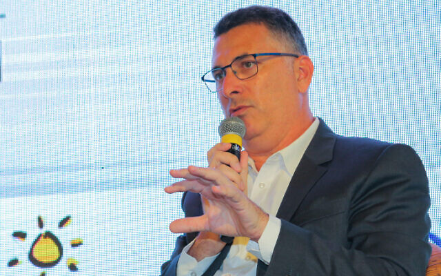 Justice Minister Gideon Saar speaks during a Conference of Heads of Local Authorities in Ramat Negev, southern Israel, July 22, 2021 (Flash90)