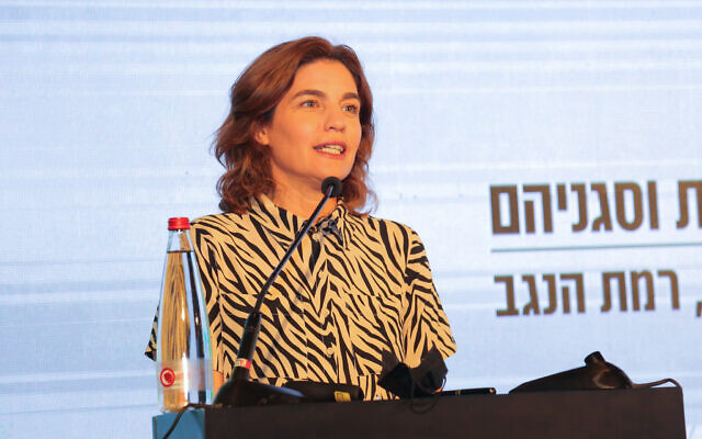Environmental Protection Minister Tamar Zandberg speaks during a Conference of Heads of Local Authorities in Ramat Negev, southern Israel, July 22, 2021. (Flash90)