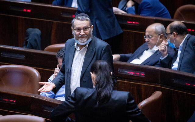 United Torah Judaism MK Moshe Gafni attends a plenary session at the assembly hall of the Knesset, July 26, 2021. (Yonatan Sindel/Flash90)