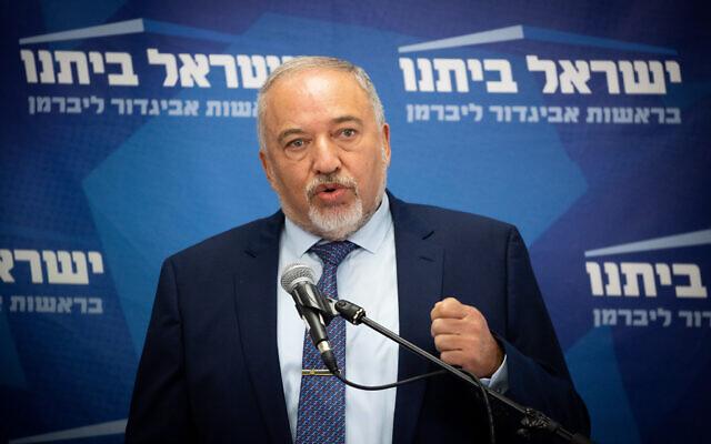 Finance MinisterAvigdor Liberman speaks during a faction meeting of his Yisrael Beytenu party in the Knesset, Jerusalem, on July 26, 2021. (Yonatan Sindel/Flash90)