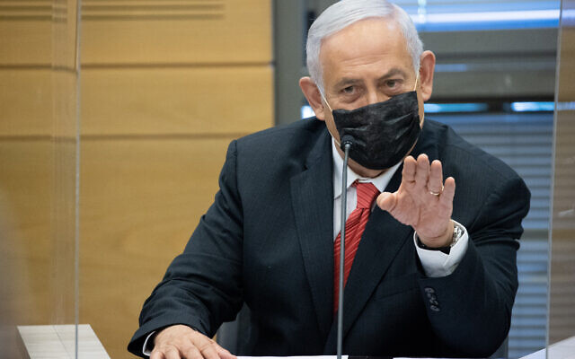Opposition head Benjamin Netanyahu leads a Likud faction meeting at the Knesset, on July 26, 2021. (Yonatan Sindel/Flash90)