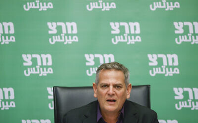 Meretz party chair Health Minister Nitzan Horowitz leads a Meretz faction meeting at the Knesset on July 26, 2021. (Yonatan Sindel/Flash90)