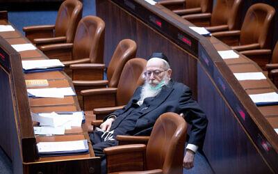 MK Yaakov Litzman attends a plenary session at the Knesset in Jerusalem, July 26, 2021 (Yonatan Sindel/Flash90)
