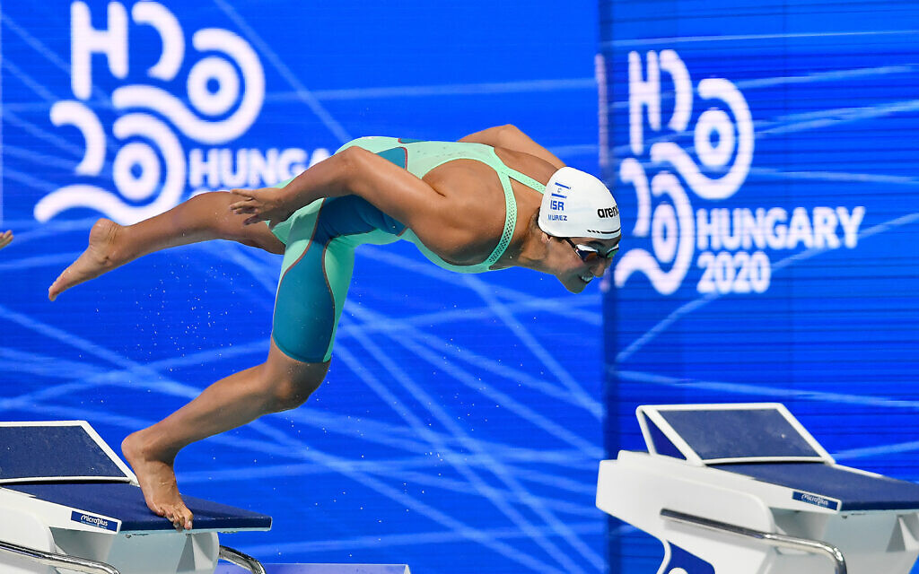 Andi Murez competes in Hungary in November 2020. (Israel Swimming Association)
