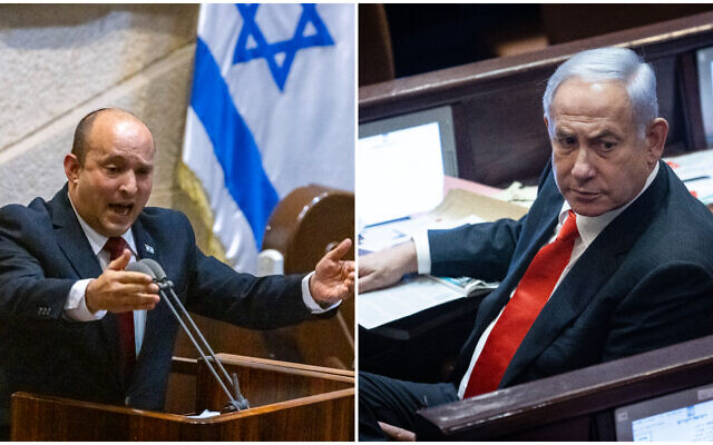 Prime Minister Naftali Bennett speaks during a plenum session in the Knesset, on July 12, 2021 (L) and opposition head Benjamin Netanyahu attends a discussion  in the Knesset, on July 6, 2021. (R). (Olivier Fitoussi, Yonatan Sindel/Flash90)