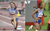 Israel's Olympic long jumper Hanna Knyazyeva-Minenko (L) and runner Selamawit Teferi (R) at the 2020 Tokyo Olympics, on July 30, 2021. (Israel Olympic Committee)