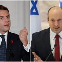 French President Emmanuel Macron and Prime Minister Naftali Bennett. (Benoit Tessier/Pool/AFP; Marc Israel Sellem/Pool)