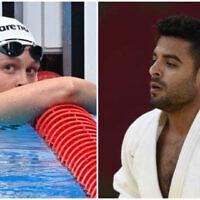 Anastasya Gorbenko (Jonathan Nackstrand / AFP) and Sagi Muki (Amit Shisel/Israel Olympic Committee)