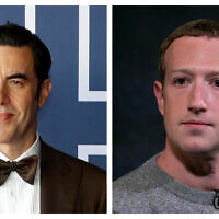 This combination of file photos shows actor-comedian Sacha Baron Cohen (left) at a screening of the Oscars on April 26, 2021 in Sydney, Australia, and Facebook CEO Mark Zuckerberg (right) in New York, on October 25, 2019. (AP/Rick Rycroft, Pool, Mark Lennihan)