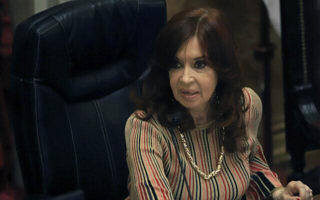 Argentine Vice President Cristina Fernandez de Kirchner presides over a Senate session in Buenos Aires, December 29, 2020. (Mariano Gabriel Sanchez/Anadolu Agency/Getty Images via JTA)