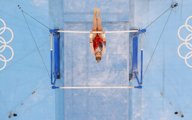 Liliia Akhaimova of Team ROC competes on uneven bars during Women's Qualification on day two of the Tokyo 2020 Olympic Games at Ariake Gymnastics Centre, on July 25, 2021, in Tokyo, Japan. (Laurence Griffiths/Getty Images via JTA)