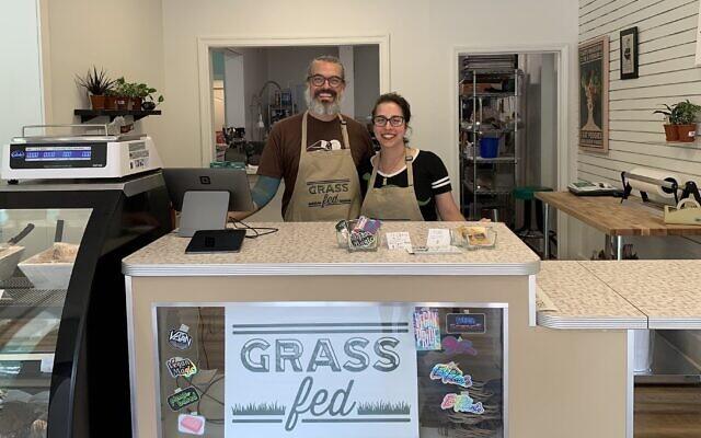 Rob Nipe and Nora Rubel are ready for the Rosh Hashanah rush on brisket at their vegan butcher shop in Rochester, New York. (Shira Hanau/JTA)