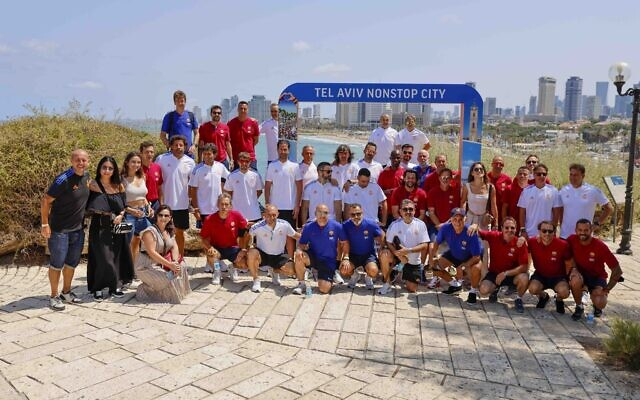 Retired players from Spanish soccer league rivals FC Barcelona and Real Madrid CF toured the ancient port city of Jaffa on July 20, 2021, ahead of the planned exhibition match at Jaffa's Bloomfield Stadium. (Courtesy: Guy Yechiely)