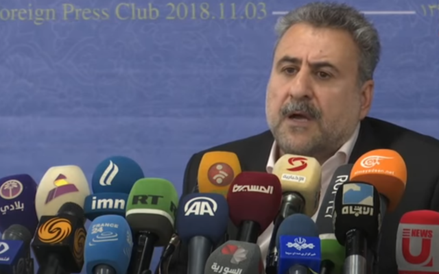 Heshmatollah Falahatpisheh speaks to reporters on November 3, 2018. (Screenshot: YouTube)