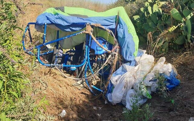 The site of a paraglider crash near Modiin on July 2, 2021. (Israel Police)