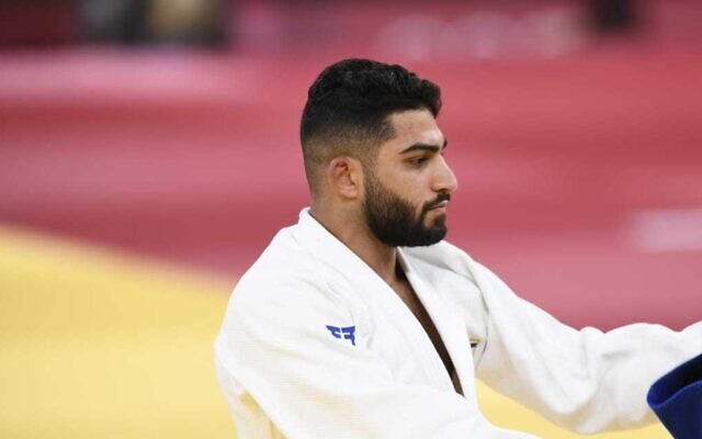 Israel's Tohar Butbul competes in the judo men's -73kg quarterfinal bout during the Tokyo 2020 Olympic Games at the Nippon Budokan in Tokyo on July 26, 2021 (Amit Shisel/Israel Olympic Committee)