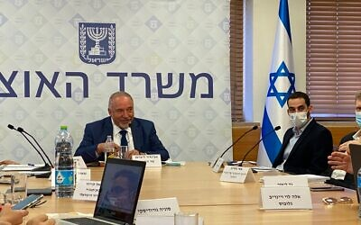 Finance Minister Avigdor Liberman at a press briefing with journalists in Jerusalem (Shoshanna Solomon/Times of Israel)