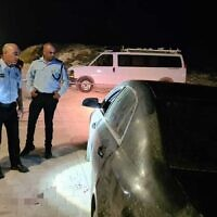 The scene where a man was shot dead in Hura, July 16, 2020 (Israel Police)
