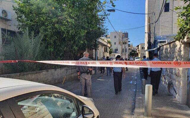 The scene where Mohammad Abu Nijm was shot on January 24, 2021 in Jaffa (Israel Police)