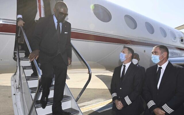 Equatorial Guinea Vice President Teodoro Nguema Obiang Mangue arrives in Israel on July 11, 2021. (Courtesy)