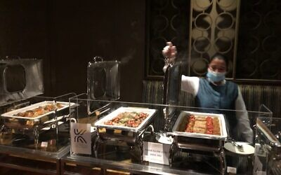 The Kosher buffet provided by Crown Prince Mohamed bin Zayed's office to the Israeli delegation in Abu Dhabi, June 29, 2021 (Lazar Berman/Times of Israel)