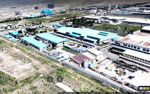 The alleged Karaj centrifuge parts plant near Karaj, Iran, seen in a photo posted online by Google user Edward Majnoonian, in May 2019. (Screenshot/Google Maps)