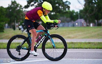 Leah Goldstein pushes hard in the last 500 miles of Race Across America 2021, June 24, 2021. (Tara Roberts/RAAM Media)