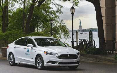 A Mobileye car doing a pilot drive in New York City, July 2021. (Courtesy)