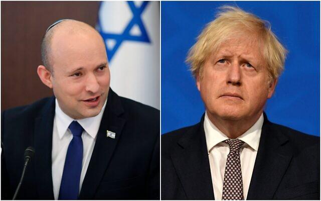 Prime Minister Naftali Bennett and UK Prime Minister Boris Johnson. (Composite/AP)
