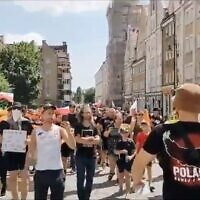 Marchers at a rally in Glogow, Poland, July 18, 2021. (Screenshot from YouTube via JTA)
