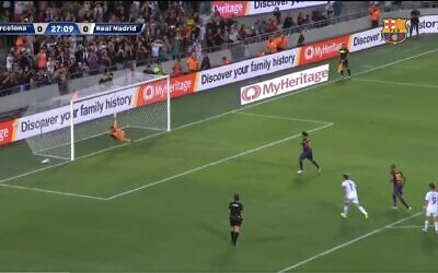 Screen capture from video of an exhibition soccer game featuring former players of rival Spanish clubs FC Barcelona and Real Madrid, in Tel Aviv, July 20, 2021. (YouTube)