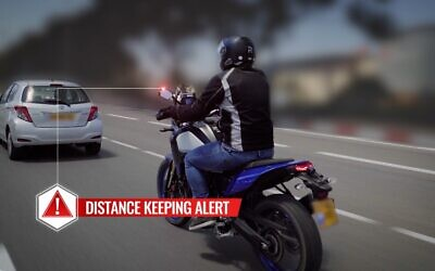 The Ride Vision system warns riders of other vehicles and dangers with a flashing signal on the rearview mirror. (Ride Vision)