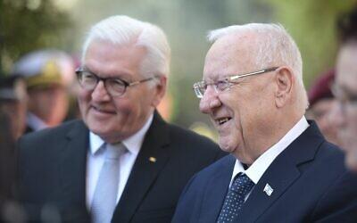 President Reuven Rivlin (R) hosts German President Frank-Walter Steinmeier in Jerusalem, July 1, 2021. (Koby Gideon/GPO)