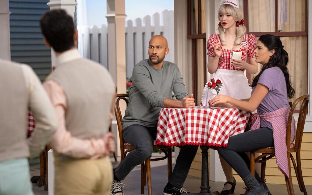 Keegan-Michael Key, Dove Cameron and Cecily Strong in 'Schmigadoon!' Episode 1. (Courtesy Apple TV+)