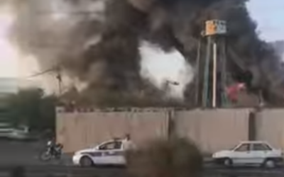 A fire at a warehouse in Tehran, on July 5, 2021. (Screen capture/YouTube)