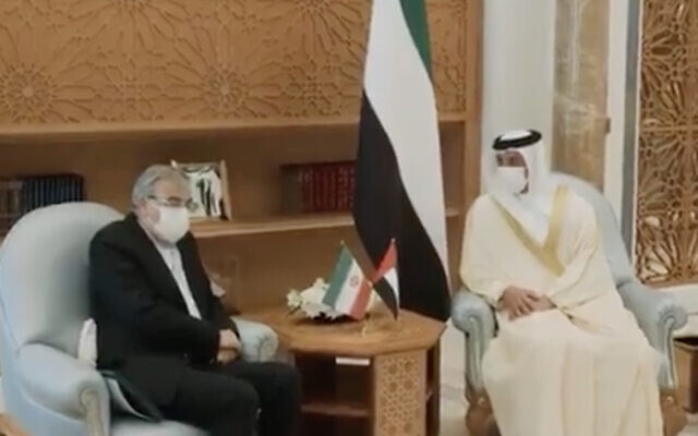 Sheikh Mansour bin Zayed Al Nahyan, the UAE deputy prime minister, right, meets with Iranian charge d'affaires Sayed Mohammad Hosseini in Abu Dhabi, United Arab Emirates, July 7, 2021. (Screen capture: Twitter)