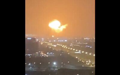 A fireball is seen after an explosion at the Jebel Ali port in Dubai, United Arab Emirates, July 7, 2021. (Screen capture/Twitter)
